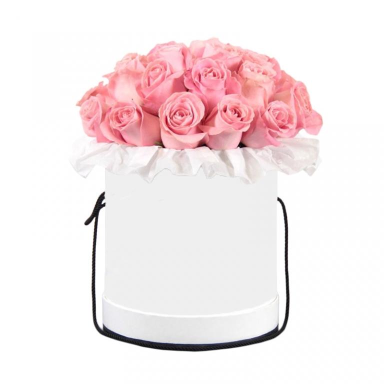 Rožės baltoje dėžutėje – Gėlės į namus